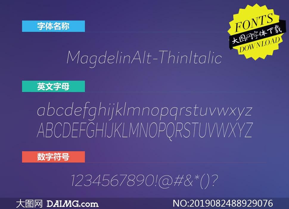 MagdelinAlt-ThinItalic(英文字体)