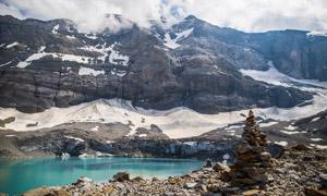 白云雪山湖泊自然风景摄影高清图片