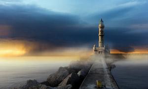 矗立在海边的灯塔景观摄影高清图片