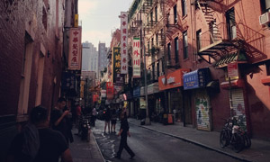 欧美城市的唐人街风光摄影高清图片