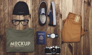 衣服裤子与鞋帽护照等样机模板素材