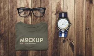 眼镜手表与文化衫服饰样机模板素材