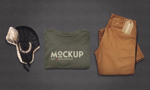 帽子短袖衫与裤子等样机模板源文件