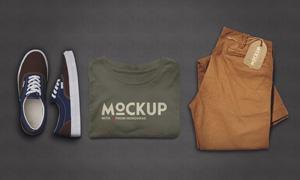 衣服裤子与鞋子等样机模板设计素材