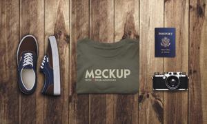 帆布鞋文化衫与护照照相机样机模板