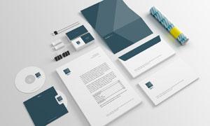 信封名片与商务文件纸张等样机模板