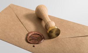 印章与信封封口处的蜡封章样机模板