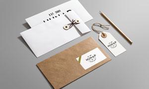 质感展示的信封与名片元素样机模板