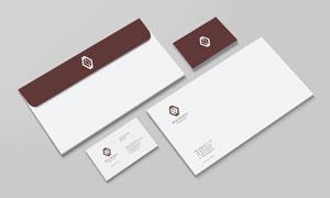 名片与信封组合展示效果样机源文件