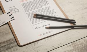 名片铅笔与信笺样机模板分层源文件
