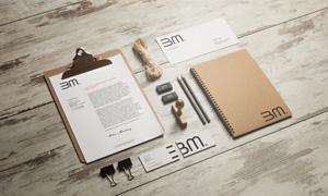 记事本铅笔与名片信封样机模板素材