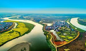 美丽的汉江河流航拍图摄影图片