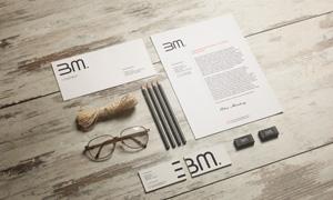 眼镜铅笔与名片信封等样机模板素材