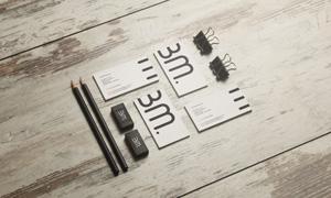 名片铅笔等元素样机模板分层源文件
