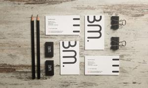 铅笔夹子与名片等元素样机模板素材