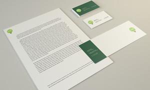 整齐摆放的名片信封样机模板源文件