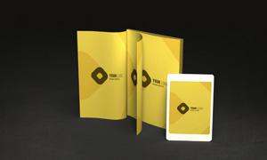 书籍与平板屏幕内容贴图模板源文件