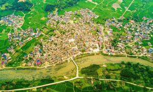 城镇和田园风光航拍图摄影图片