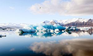 雪山下湖邊的冰川攝影圖片