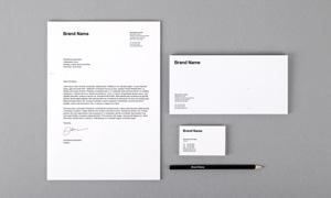 信纸信封与名片铅笔等样机模板素材