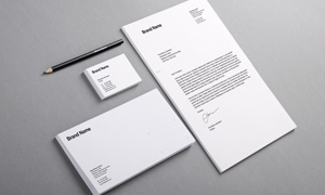 信封名片与信笺铅笔等样机模板素材