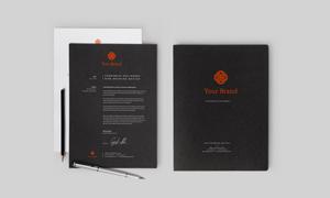 铅笔与纸张等企业VI元素样机源文件