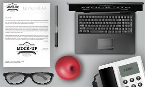 中性笔苹果与眼镜电话机等样机模板