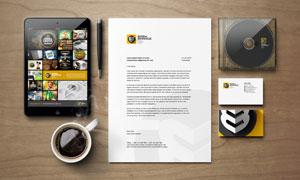 咖啡杯信纸与名片光盘盒等样机模板