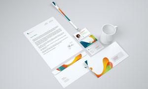 名片信封纸张与工作证样机模板素材