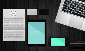 名片手机与平板电脑等样机模板素材