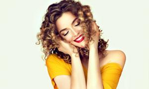 開心笑容紅唇濃妝美女攝影高清圖片