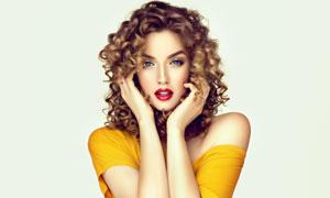 鮮艷紅唇美女人物特寫攝影高清圖片