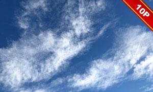 天空中飘散的白色云朵摄影高清图片