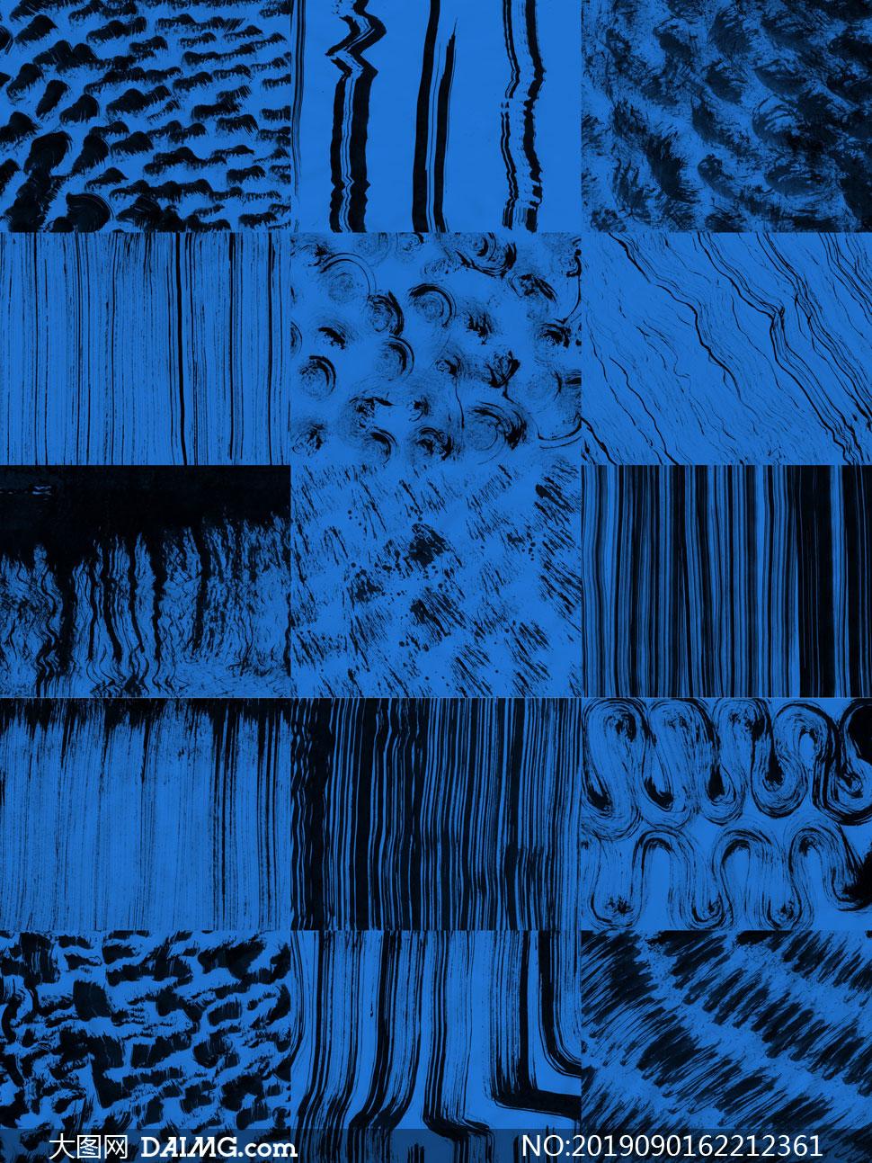 蓝底的墨迹元素抽象背景创意图片V1