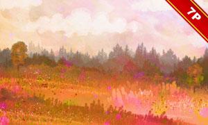 背景與水彩風景畫創意設計高清圖片