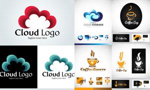 咖啡杯与与云朵等图案标志矢量素材