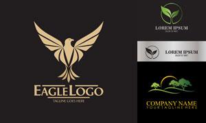 鹰与绿叶树木图案标志创意矢量素材