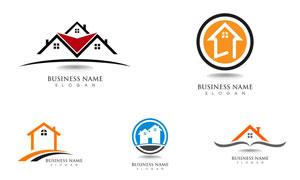 房子图案的房地产主题标志矢量素材