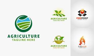 农业生产与火苗等相关标志矢量素材