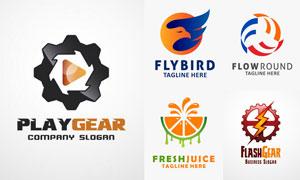 飞鸟与齿轮等元素标志设计矢量素材