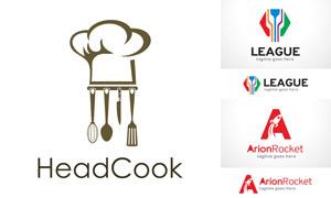 厨具与火箭等元素标志创意矢量素材