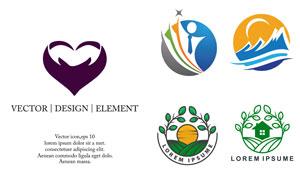 人形山峰与心形等标志创意矢量素材