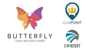蝴蝶与抽象图案等标志设计矢量素材