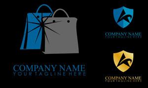 手提袋与盾牌元素标志创意矢量素材