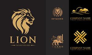 狮子与树木等元素标志创意矢量素材
