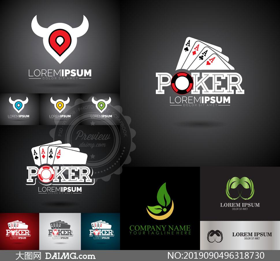 扑克牌与绿叶等元素标志创意矢量图