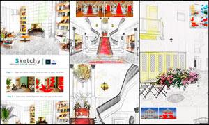 室内建筑手绘草图艺术效果PS动作