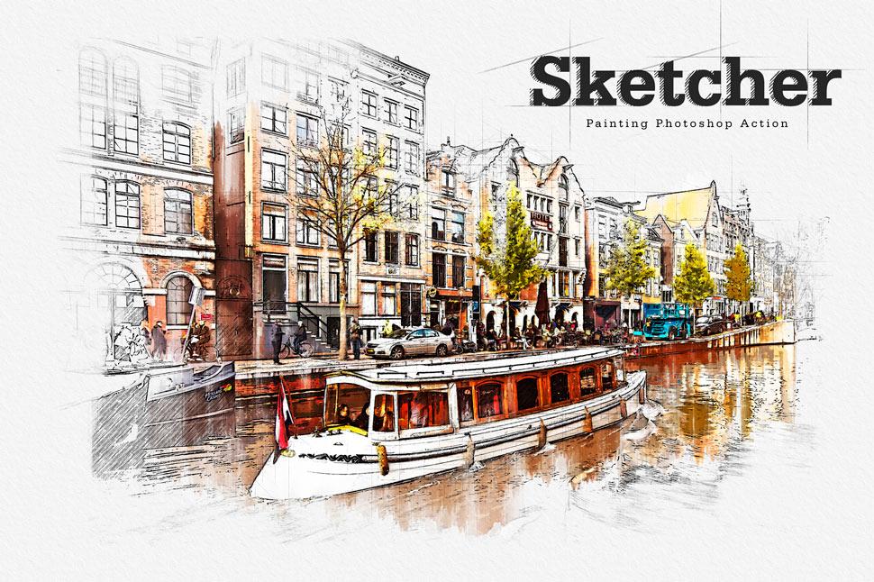 建筑物手绘草图绘画特效PS动作