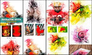 抽象的手绘涂抹背景特效PS动作