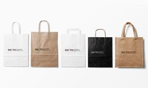 五款材质样式不一的手提袋样机模板